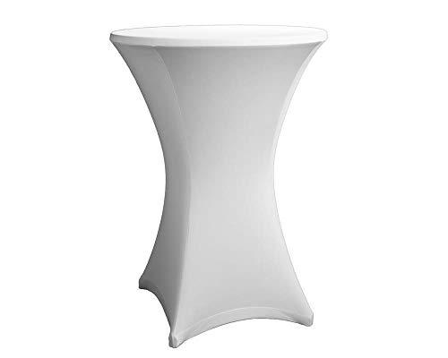 Original eXpand® Stehtischhusse - Überzug, Husse, Stretchhusse für Stehtische oder Bistrotische, Profi-Qualität mit 210g/m² - Ø 80-86 cm, Weiß