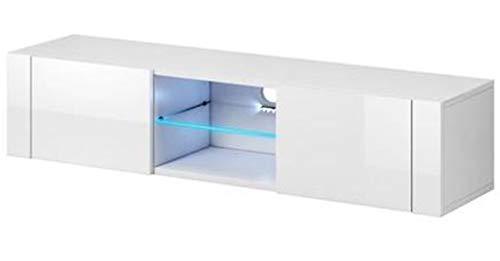 PEGANE Meuble TV Design Coloris Blanc/Blanc Brillant, éclairage LED Bleue - Dim : 140 x 36 x 30 cm