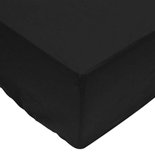 vidaXL Draps de lit 2 pièces 160 x 200 cm Coton Noir