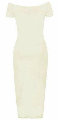 neuen Frauen plus size kurze Ärmel ab Schulter bodycon Midi-Kleid Cream