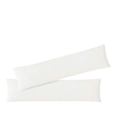 exklusiv-heimtextil Kissenbezug Stillkissenhülle Seitenschläferkissenbezug 2er Set Sparpack Kissenhüllen mit Reißverschluss hochwertige Jersey Qualität 150g/m² 100% Baumwolle ÖKO-TEX 40x145 cm weiß
