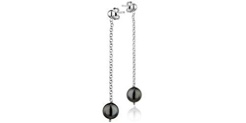 Clio Blue Orecchini perforate, N. Atelier argento 925, con perle Swarovski, colore: nero, 2,55 g