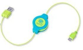 ReTrak etneonm5Kabel Micro USB Retractable Premier-Neon Blau/Gelb