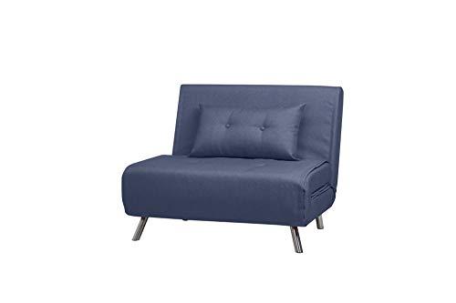 ARTDECO Schlafsessel Jugendsessel Gästebett Como Klappsessel Stoff blau groß