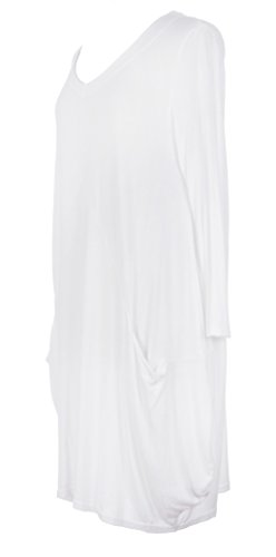 Mesdames Womens italien Lagenlook excentrique 3/4 manches maille Fine avant tricoter 2 courbe Oversize Casual celui de poche Plus UK 12-24 Blanc