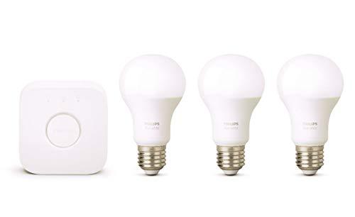 Philips 871869963026300Hue Kit di avviamento bianco con 3x E279W [Ponte inclusa]–Funziona con Alexa, Vetro, 9W