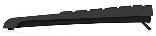 KeySonic ACK-595C+ (DE) Kabelgebundene Tastatur (USB-PS/2-Kombo) im Mini-Layout, integriertes Nummernfeld, SoftSkin (schwarz)