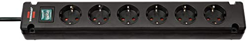 Brennenstuhl Bremounta Steckdosenleiste 6-fach (Steckerleiste mit Befestigungsmöglichkeit, 3 m Kabel und Kindersicherung) schwarz