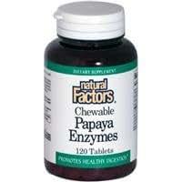 Natural Factors, Enzymes de Papaye à croquer, 120 Comprimés