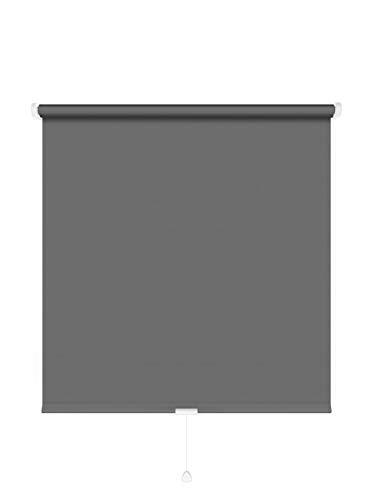 JalousieCrew Springrollo Classic Mittelzugrollo Schnapprollo Rollo anthrazit dunkel grau - Breite 60-220 cm Länge 180 cm und 230 cm Blickdicht Blickschutz (160 x 180 cm)