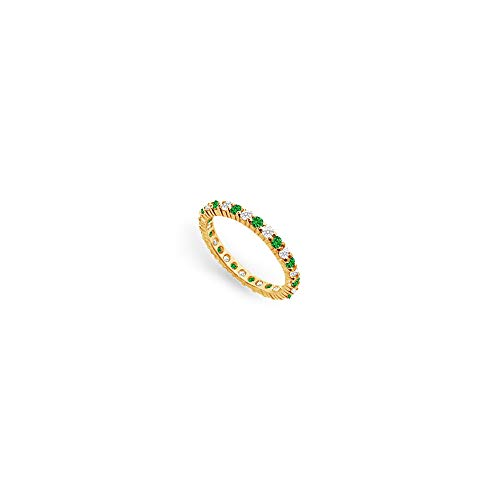 Diamond and Emerald Eternity Band 18K Yellow Gold 1.00 CT TGW First Wedding Anniversary Jewelry (18 White Band K Gold Wedding)