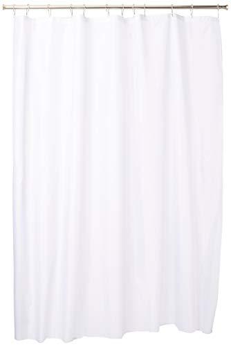 iDesign Mildew-Free Water-Repellent Fabric Shower Curtain, max. 183 x 183 cm, white