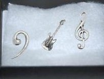 Gift Boxed Set of 3 Pewter Pin Badges-Music Stratocaste, Treble Clef, Bass Clef.
