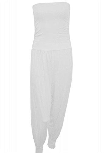 Neue Frauen-Damen trägerloses Bandeau -Schlauch- Harem Jumpsuit Kleid plus Größe (52-54, WEISS) (Apple Bottoms Frauen)