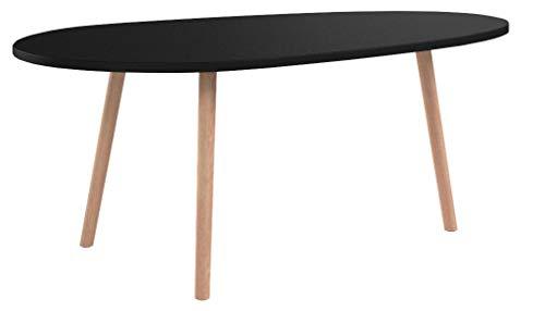 CLP Table Basse Herning I Table d'Appoint Design Plateau Élégant en MDF I 3 Pieds en Bois de Caoutchouc I Couleur : Noir, 120 cm