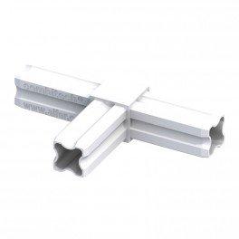Connecteur T blanc 23.5mm 90°C 3 embouts pour tube alu et pvc