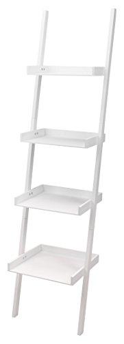 Home & Styling Escalera estantería estantería de Pared 4estantes Madera Blanco 168x 37cm