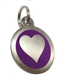 Personalised Engraved 32mm Stainless Steel Purple Heart Dog Pet ID Tag.......TO LEAVE ENGRAVING DETAILS PLEASE READ PRODUCT DESCRIPTION LOWER DOWN THIS PAGE.