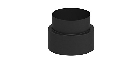 Übergangselement doppelwandig von Schornstein auf Verbindungsleitung (15mm Isolierung), 150mm Innendurchmesser; schwarz lackiert