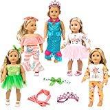 ZITA ELEMENT 4 Set Uniform Puppenkleidung Spielset Kleider Set für 45-46cm Puppe Einhorn Muster...