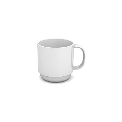 Ornamin Becher 220 ml weiß (Modell 508) / Mehrweg-Becher Kunststoff, Kaffeebecher, Henkelbecher
