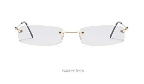 WSKPE Sonnenbrille,Mode Rahmenlose Sonnenbrille Frauen Ultra Light Rechteckig Schmal Klein Sonnenbrille Männer Uv400 Gold Frame Klare Linse