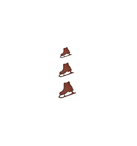 Metallmichl Edelrost 3 tlg. Schlittschuhkette Girlande für Winter-Deko aus Rost Metall für Innen und Außen