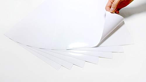 20 hojas de vinilo A4 imprimibles por láser (no aptas para impresoras de inyección de tinta) resistentes al agua (PVC), color blanco brillante, autoadhesivas de calidad