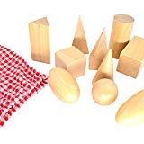 Geometrie Solids in Mystery Bag - 3D Shapes Miniatur Set - Montessori Spielzeug aus Holz - Packung mit 10 Stück - ab 3 Jahren