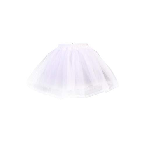 zhiwenCZW Frauen Mädchen Doppelschichten Einfarbig Kurze Tüll Petticoats Elastischer Bund Eine Linie Mesh Unterrock Krinolines Für ()