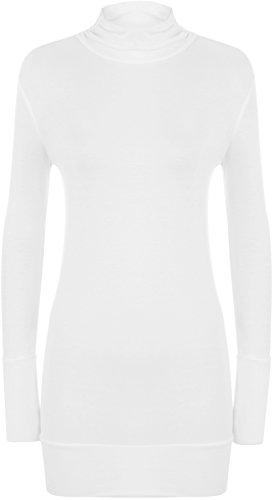 WearAll - Neu Damen Rollkragen Langarm Geraffte Elastisch Top - Weiß - 36-38 (Rollkragen-weiß Kleidung)