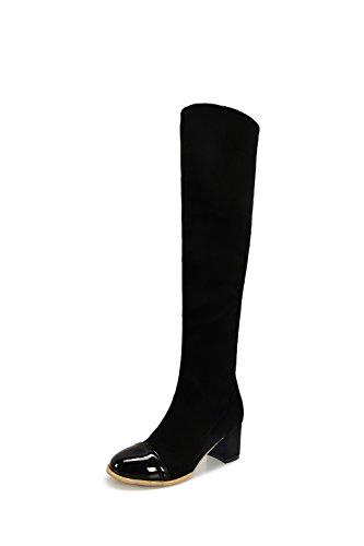 AgooLar Damen Mittler Absatz Weiches Material Hoch-Spitze Rein Ziehen auf Stiefel, Schwarz, 36