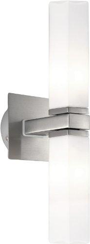 Eglo 1 Halogen-Stahl-Bad-Wand-Leuchte / Innenbereich / Palermo / Nickel matt Glas: Opal / 9.5 x 33.0...