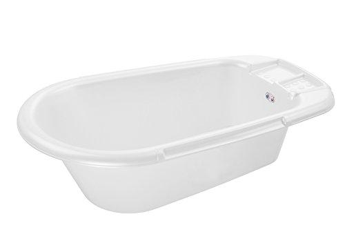 Rotho Babydesign Bath Tub, With Drain Plug, 0-12 Months, Bella Bambina, White, 200200001