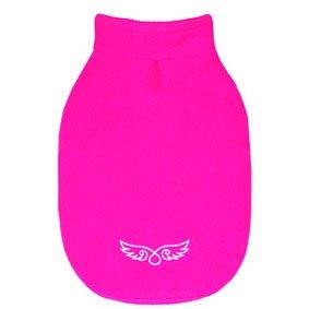 Mantel für Hunde kleinen und mittleren Pink, Winter Weste Fleece Kleidung für Größen S M L und XL (Brosche Mops)