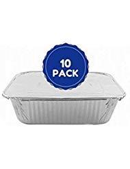 Einweg Pfannen 5LB, länglich, Backen, Kochen, Braten, Lebensmittel Aufbewahrung 22,9x 17,8cm Aluminium Pfannen mit Aluminium Folie Deckel 10Stück (10 Aluminium-pfanne Deckel)