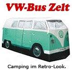 VW Bulli Camping Bus Zelt - mintgrün - im Set mit ultrahellem Taschenscheinwerfer Bestseller-zelte