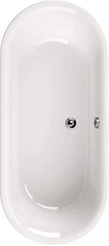Calmwaters Freistehende Badewanne 180x80 cm, Acrylwanne Lavella, Duo-Badewanne für zwei Personen, Maße 180 x 80 cm, freistehende Wanne oval, runde Badewanne freistehend, Duowanne in Weiß - 02SL2975