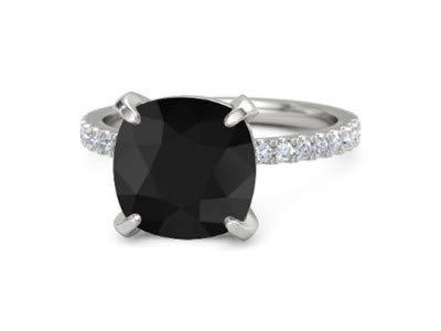 42045e69d77d Forever Diamonds 5.10Ct Cushion Cut Black Onyx Gemstone   Round Cut Anillos  de boda de