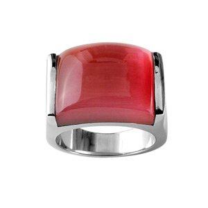 1001 Bijoux - Bague acier plateau rouge rectangulaire - tour de doigt 60