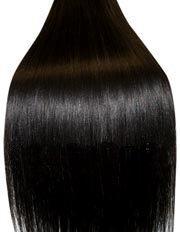 Clip-In-Extensions für komplette Haarverlängerung - hochwertiges Remy-Echthaar - 100 g - 45 cm - Naturschwarz - 1B