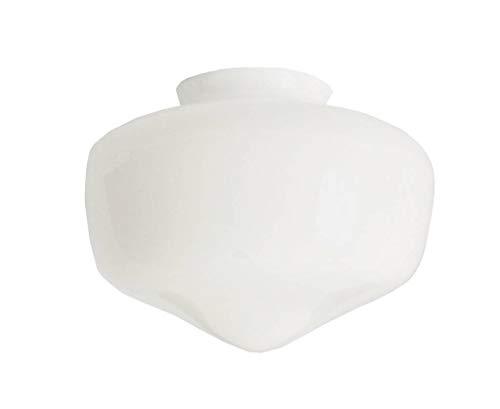 """Blanc remplacement verre """"Houston"""" ventilateur de plafond abat-jour. Col (largeur extérieure): 7.7cm diamètre, Trou: 6.0cm diamètre, Hauteur: 12.5cm, Largeur maximale: 17cm diamètre (B&Q Blyss)"""
