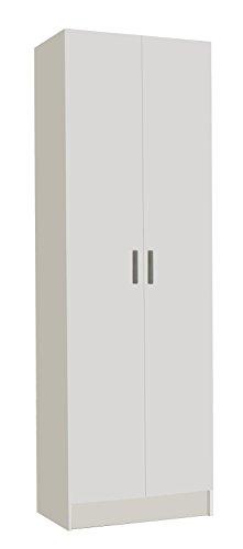 Habitdesign 007144O - Armario Dos Puertas Multiusos, Armario Auxiliar Color Blanco, Medidas 180 x 58,5 x 37 cm de Fondo