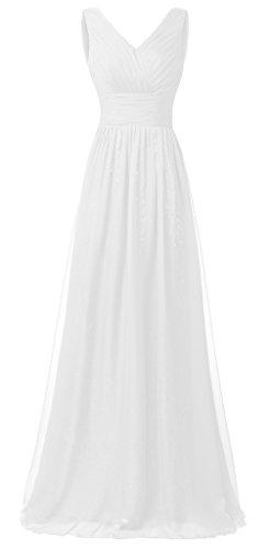 Eudolah Robe de soirée longue pailletée col V en mousseline et sequin Femme Blanc