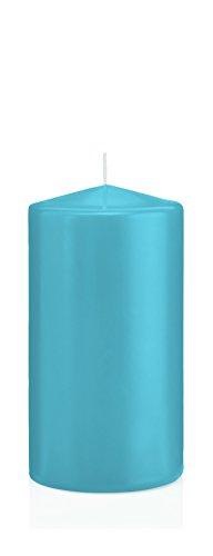 Stumpenkerzen mit Abbrandschutz Eisblau 60 x 40 mm 24 Stück für den sicheren Abbrand von Kerzen auf Adventskränzen und Gestecken