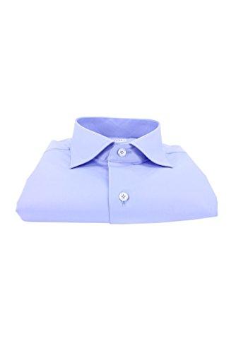 Carillo camicie camicia uomo manica lunga regular fit con collo francese tinta unita celeste, celeste, 44
