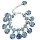 Ethnic Tribal Antique Silver Dangle Coin Beach Anklet by