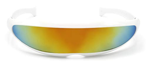Cheapass Sonnenbrille Weiß RoboCop UV-400 Verspiegelt Festival-Brille Plastik Männer Herren