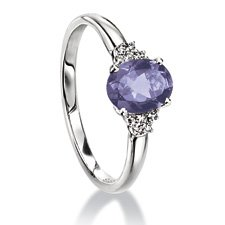 9ct White Gold Ring Set With Iolite And Diamond (0.05ct) - Size L