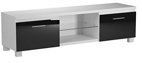 Comfort Home Innovation - Meuble Bas TV LED, Salon-Séjour, Blanc Mate et Noir Laqué, Dimensions: 150 x 40 x 42 cm de Profondeur.
